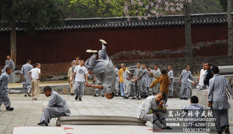嵩山少林寺武术学校的学员在训练